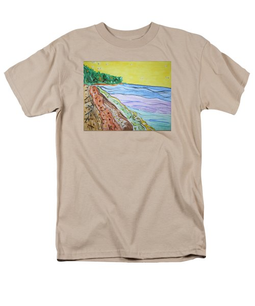 Men's T-Shirt  (Regular Fit) featuring the painting Seashore Bright Sky by Stormm Bradshaw