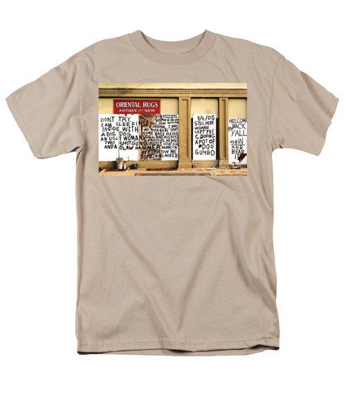 Men's T-Shirt  (Regular Fit) featuring the photograph Sign Of Distress Post Hurricane Katrina Message by Michael Hoard