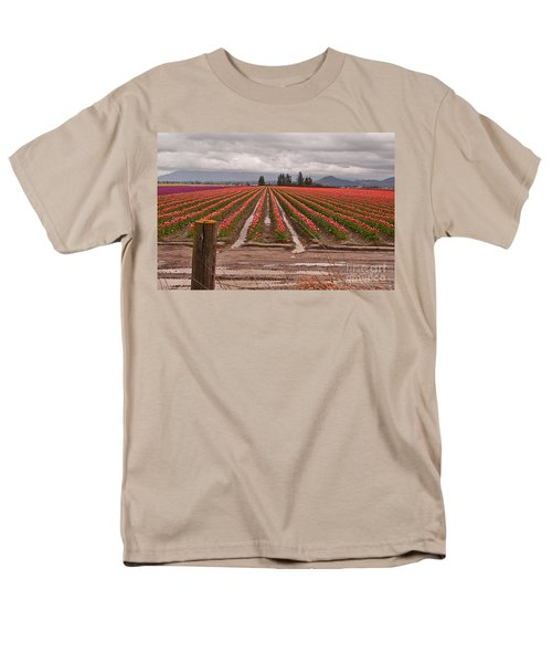 Men's T-Shirt  (Regular Fit) featuring the photograph Skagit Valley Tulip Farmlands In Spring Storm Art Prints by Valerie Garner