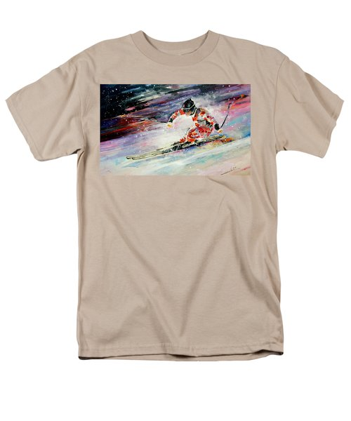 Skiing 01 Men's T-Shirt  (Regular Fit) by Miki De Goodaboom