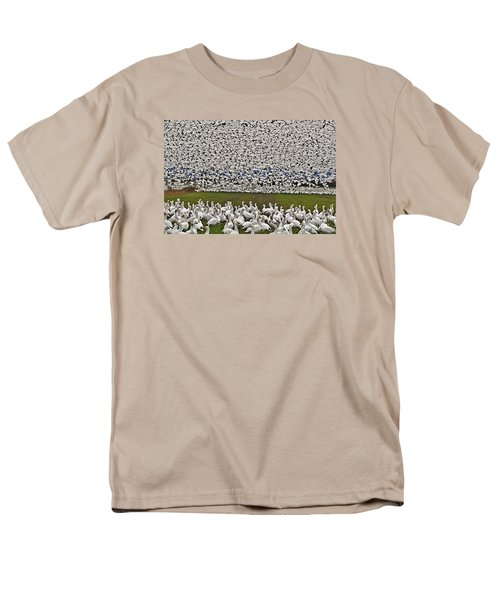 Men's T-Shirt  (Regular Fit) featuring the photograph Snow Geese By The Thousands by Valerie Garner
