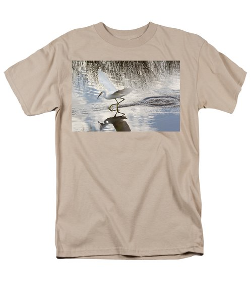Men's T-Shirt  (Regular Fit) featuring the photograph Snowy Egret Gliding Across The Water by John M Bailey