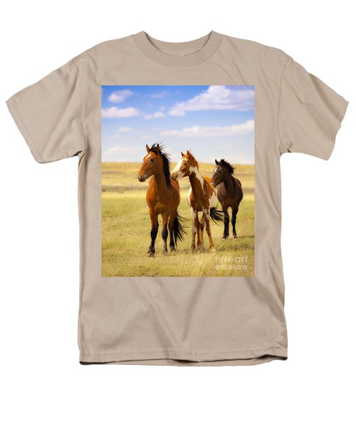 Southwest Wild Horses On Navajo Indian Reservation Men's T-Shirt  (Regular Fit) by Jerry Cowart