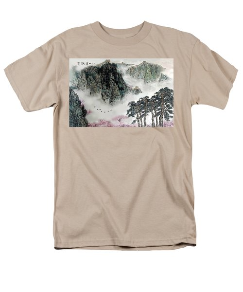 Men's T-Shirt  (Regular Fit) featuring the photograph Spring Mountains And The Great Wall by Yufeng Wang