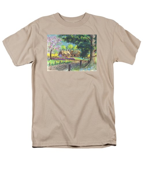 Men's T-Shirt  (Regular Fit) featuring the painting Springtime Cottage by Carol Wisniewski