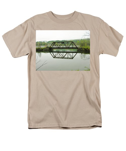 Men's T-Shirt  (Regular Fit) featuring the photograph Vermont Steel Railroad Trestle On A Calm  Misty Morning by Sherman Perry