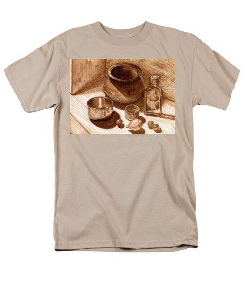 Men's T-Shirt  (Regular Fit) featuring the painting Still Life Walnut Ink by Mukta Gupta