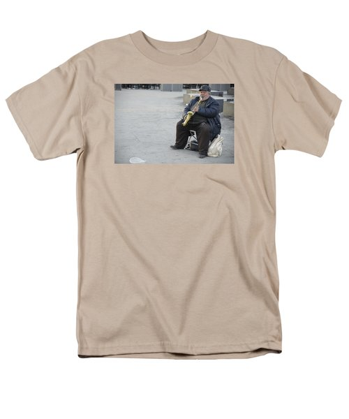 Men's T-Shirt  (Regular Fit) featuring the photograph Street Musician - The Gypsy Saxophonist 3 by Teo SITCHET-KANDA
