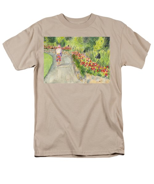 Men's T-Shirt  (Regular Fit) featuring the painting Strolling Butchart Gardens by Vicki  Housel