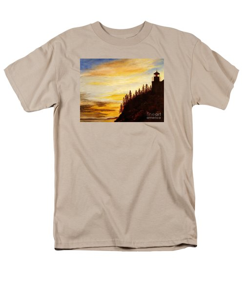 Men's T-Shirt  (Regular Fit) featuring the painting Sunset At Bass Harbor by Lee Piper