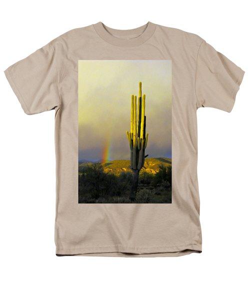Men's T-Shirt  (Regular Fit) featuring the photograph Sunset Rainbow Cactus by John Haldane