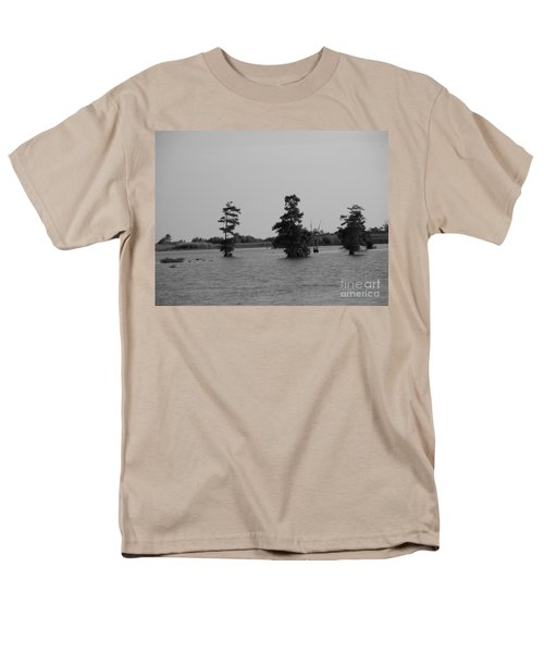 Men's T-Shirt  (Regular Fit) featuring the photograph Swamp Tall Cypress Trees Black And White by Joseph Baril