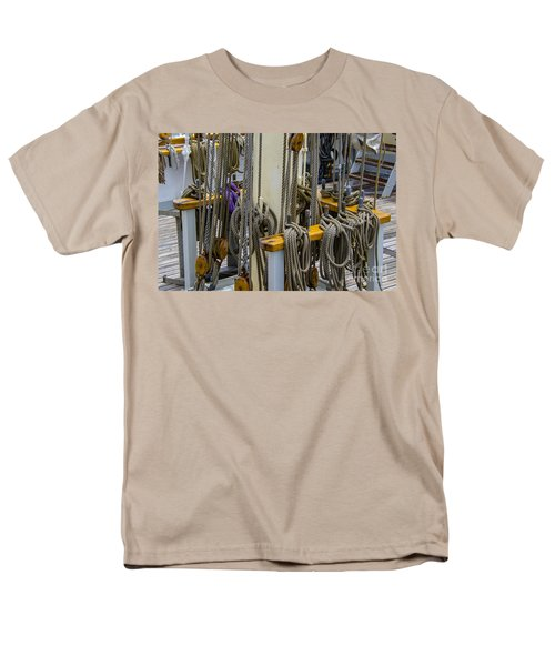 Tall Ship Lines And Blocks Men's T-Shirt  (Regular Fit) by Dale Powell