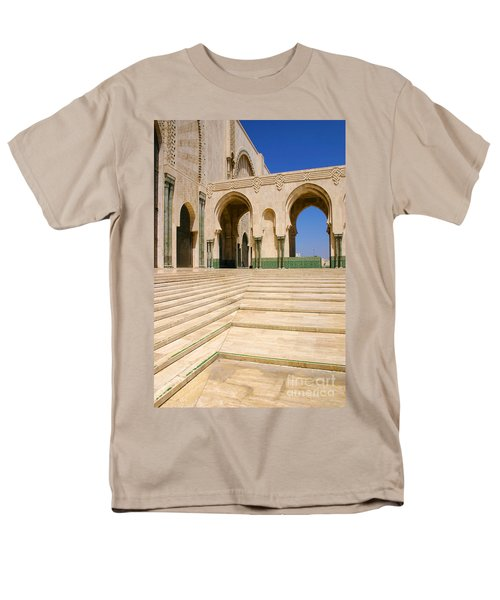 Men's T-Shirt  (Regular Fit) featuring the photograph The Massive Colonnades Leading To The Hassan II Mosque Sour Jdid Casablanca Morocco by Ralph A  Ledergerber-Photography