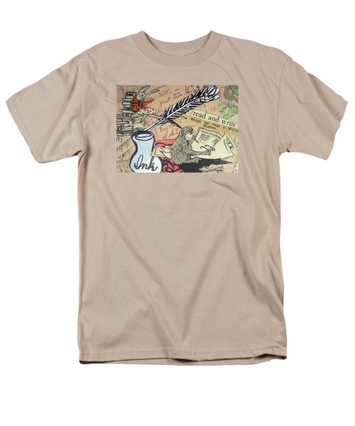 Men's T-Shirt  (Regular Fit) featuring the drawing The Studious Rabbit And The Monkey by Eloise Schneider