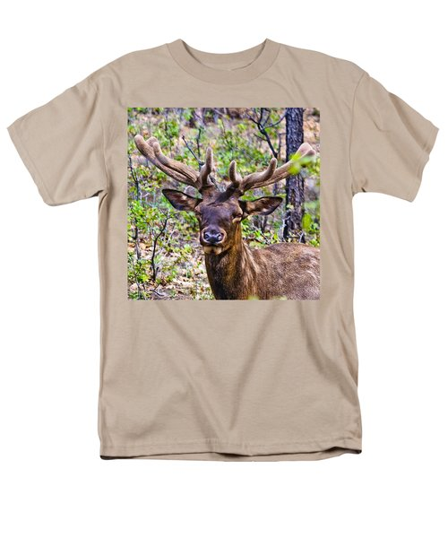 Men's T-Shirt  (Regular Fit) featuring the photograph Up Close And Personal With An Elk by Bob and Nadine Johnston