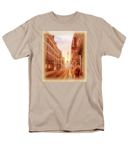 Men's T-Shirt  (Regular Fit) featuring the painting Vintage Paris Street Eiffel Tower View by Irina Sztukowski