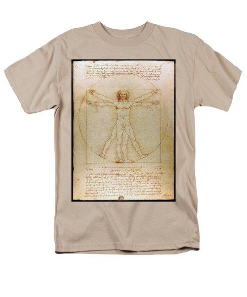 Men's T-Shirt  (Regular Fit) featuring the drawing Vitruvian Man By Leonardo Da Vinci  by Karon Melillo DeVega