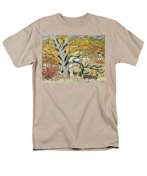 Men's T-Shirt  (Regular Fit) featuring the painting Whitetails And White Oak Tree by Jeffrey Koss