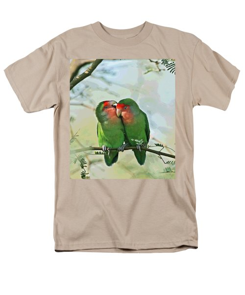 Men's T-Shirt  (Regular Fit) featuring the photograph Wild Peach Face Love Bird Whispers by Tom Janca