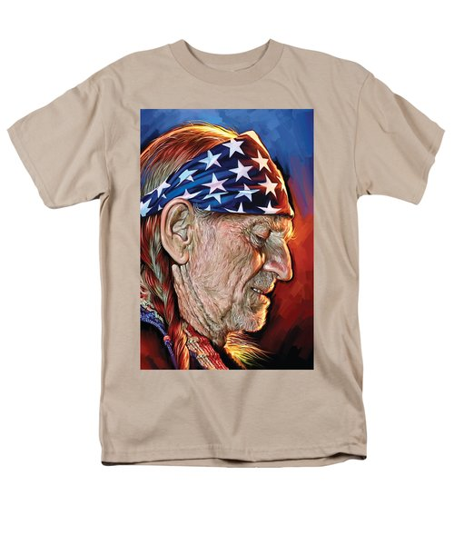 Men's T-Shirt  (Regular Fit) featuring the painting Willie Nelson Artwork by Sheraz A
