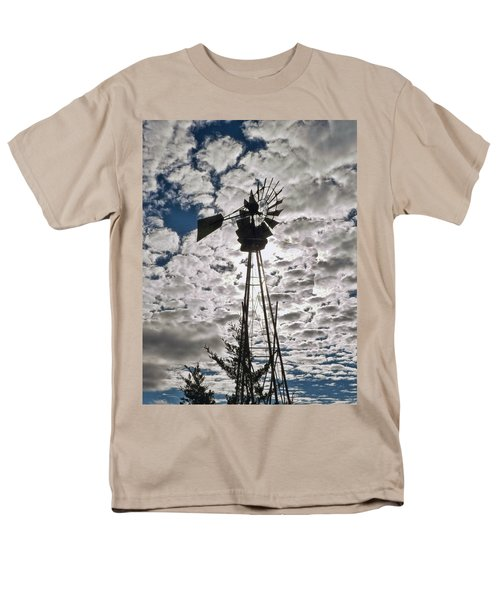 Men's T-Shirt  (Regular Fit) featuring the digital art Windmill In The Clouds by Cathy Anderson