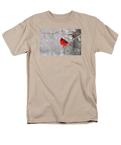 Winter Cardinal Men's T-Shirt  (Regular Fit) by Debbie Green