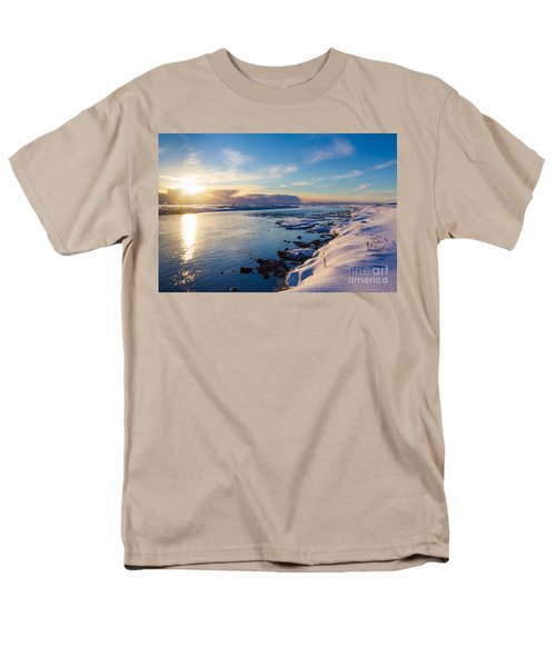 Men's T-Shirt  (Regular Fit) featuring the photograph Winter Sunset In Iceland by Peta Thames