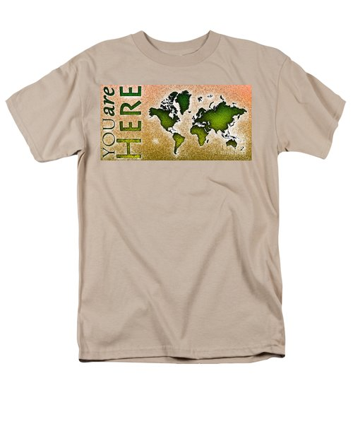 World Map You Are Here Novo In Green And Orange Men's T-Shirt  (Regular Fit) by Eleven Corners