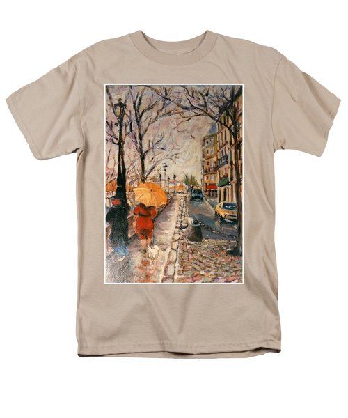 Men's T-Shirt  (Regular Fit) featuring the painting Yellow Umbrella by Walter Casaravilla