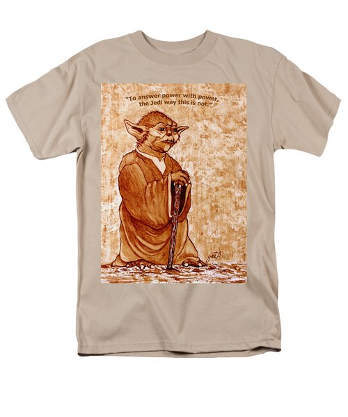 Men's T-Shirt  (Regular Fit) featuring the painting Yoda Wisdom Original Coffee Painting by Georgeta Blanaru