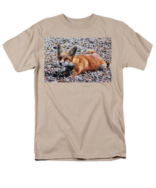 Men's T-Shirt  (Regular Fit) featuring the photograph Young Red Fox Watches Squirrel by Diane Alexander