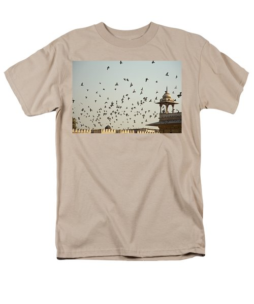 Men's T-Shirt  (Regular Fit) featuring the photograph A Flock Of Pigeons Crowding One Of The Structures On Top Of The Red Fort by Ashish Agarwal