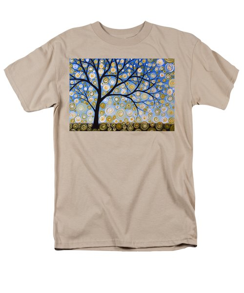Men's T-Shirt  (Regular Fit) featuring the painting Abstract Tree Nature Original Painting Starry Starry By Amy Giacomelli by Amy Giacomelli