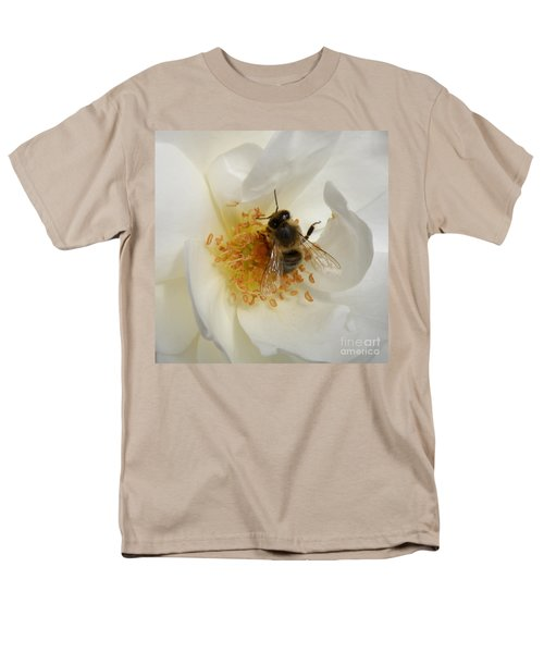 Bee In A White Rose Men's T-Shirt  (Regular Fit) by Lainie Wrightson
