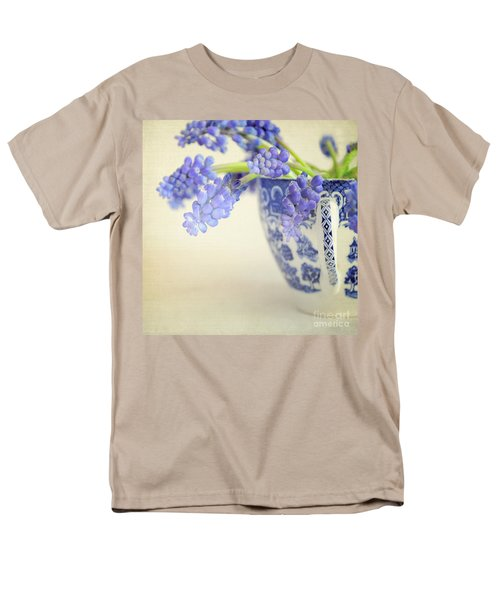 Blue Muscari Flowers In Blue And White China Cup Men's T-Shirt  (Regular Fit) by Lyn Randle