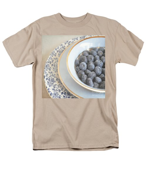 Blueberries In Blue And White China Bowl Men's T-Shirt  (Regular Fit) by Lyn Randle