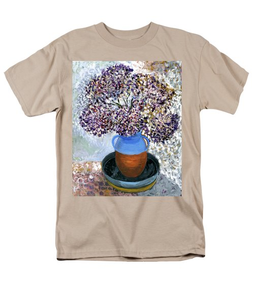 Colorful Impression Of Purple Flowers In Blue Brown Ceramic Vase Yellow Plate With Green Branches  Men's T-Shirt  (Regular Fit) by Rachel Hershkovitz