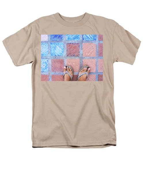 Men's T-Shirt  (Regular Fit) featuring the photograph Cross-legged On A Colorful Sidewalk by Anne Mott