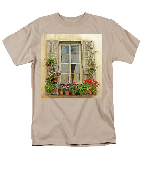 Men's T-Shirt  (Regular Fit) featuring the photograph Flower Window Provence France by Dave Mills