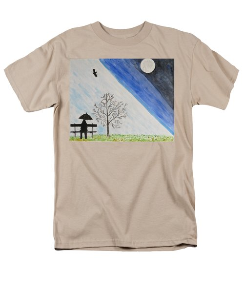 Men's T-Shirt  (Regular Fit) featuring the painting Girl With A Umbrella by Sonali Gangane