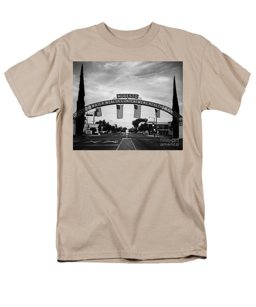 Modesto Arch With Flags Men's T-Shirt  (Regular Fit) by Jim And Emily Bush