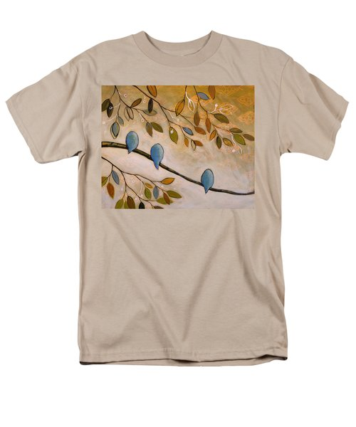 Men's T-Shirt  (Regular Fit) featuring the painting Nature Birds Painting...peaceful Garden by Amy Giacomelli