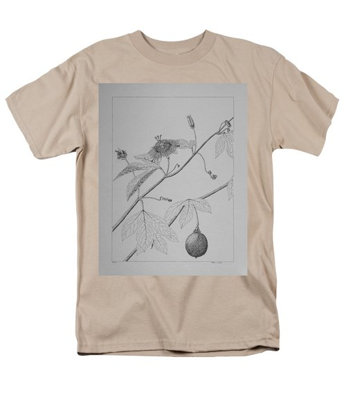 Men's T-Shirt  (Regular Fit) featuring the drawing Passionflower Vine by Daniel Reed