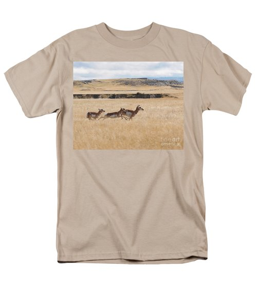 Men's T-Shirt  (Regular Fit) featuring the photograph Pronghorn Antelopes On The Run by Art Whitton