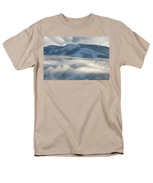 Men's T-Shirt  (Regular Fit) featuring the photograph Steamboat Ski Area In Clouds by Don Schwartz