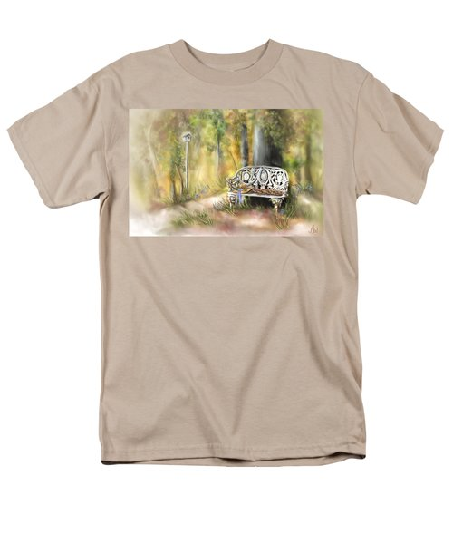 Men's T-Shirt  (Regular Fit) featuring the painting The Garden Bench by Bonnie Willis