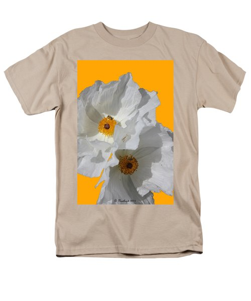 White Poppies On Yellow Men's T-Shirt  (Regular Fit) by Betty Northcutt