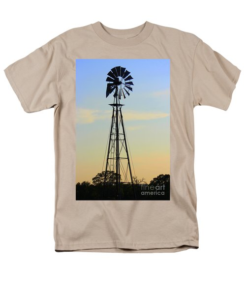 Men's T-Shirt  (Regular Fit) featuring the photograph Windmill At Dusk by Kathy  White