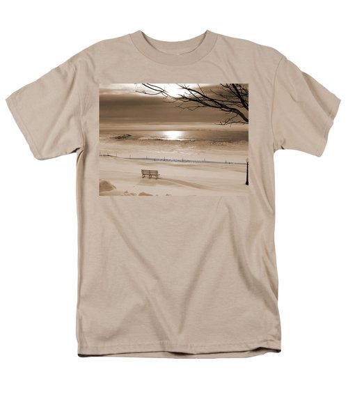 Winter Beach Morning Sepia Men's T-Shirt  (Regular Fit)